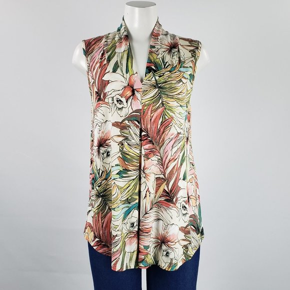 Cable & Gauge Green & Pink Floral Top Size L